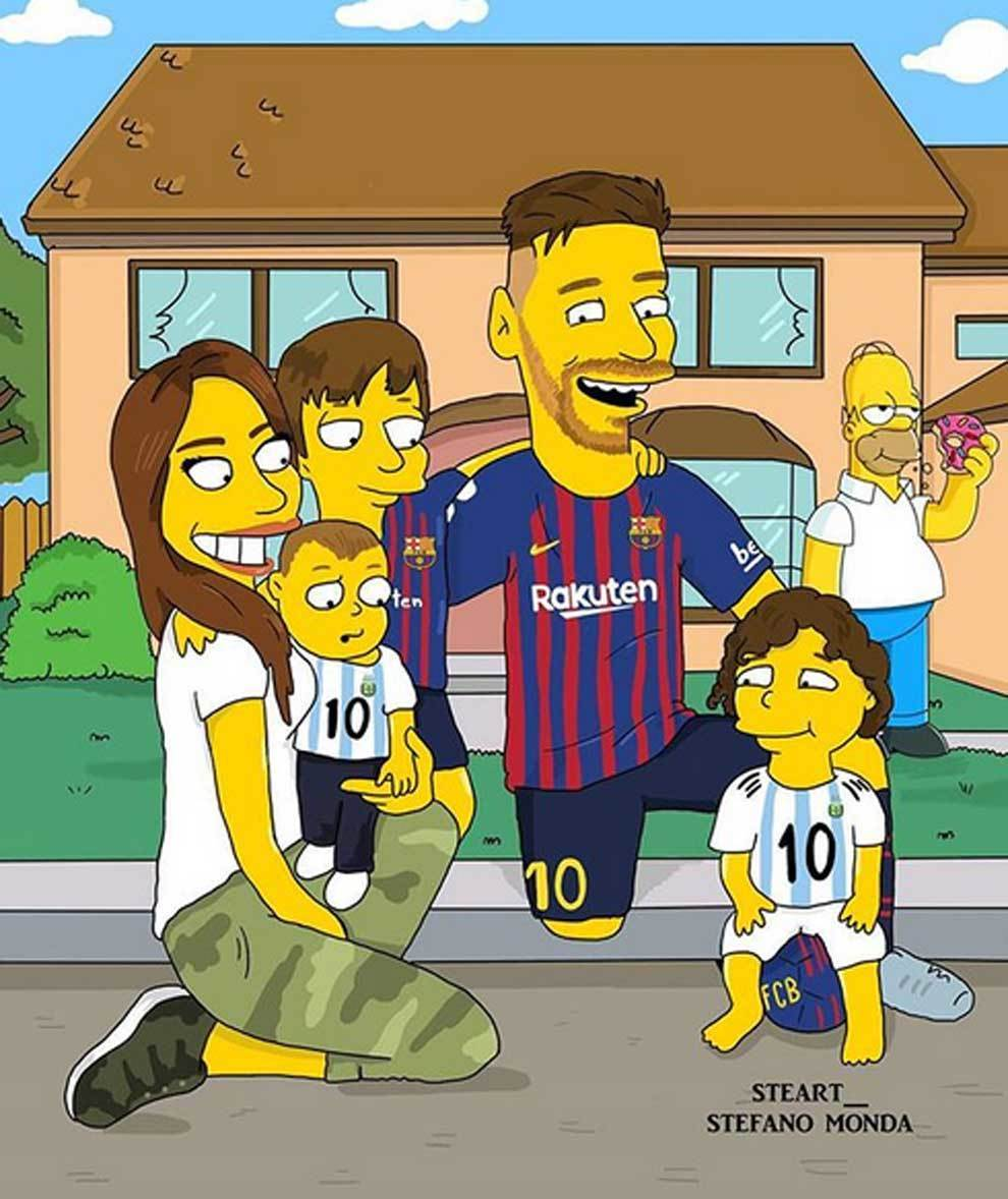 Messi and family transformed into Simpsons characters